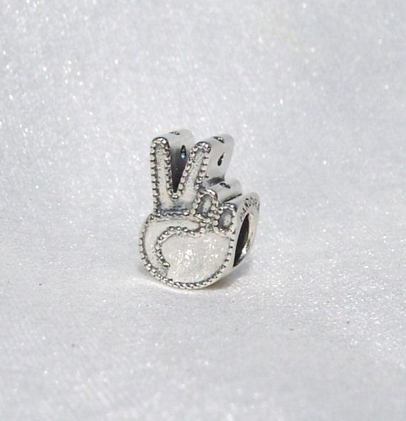 Pandora Symbol Of Peace Bracelet Charm Victory Hand Glam Etsy