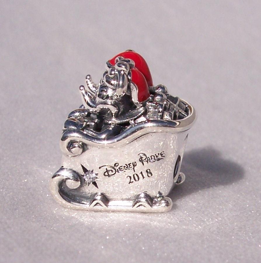 d178c2b09 PANDORA, Santa Mickey, Minnie Mouse, Sleigh, Disney Parks, 2018 Bracelet  Charm, Holiday, Sterling, CZ, Red Enamel, 925 ALE,