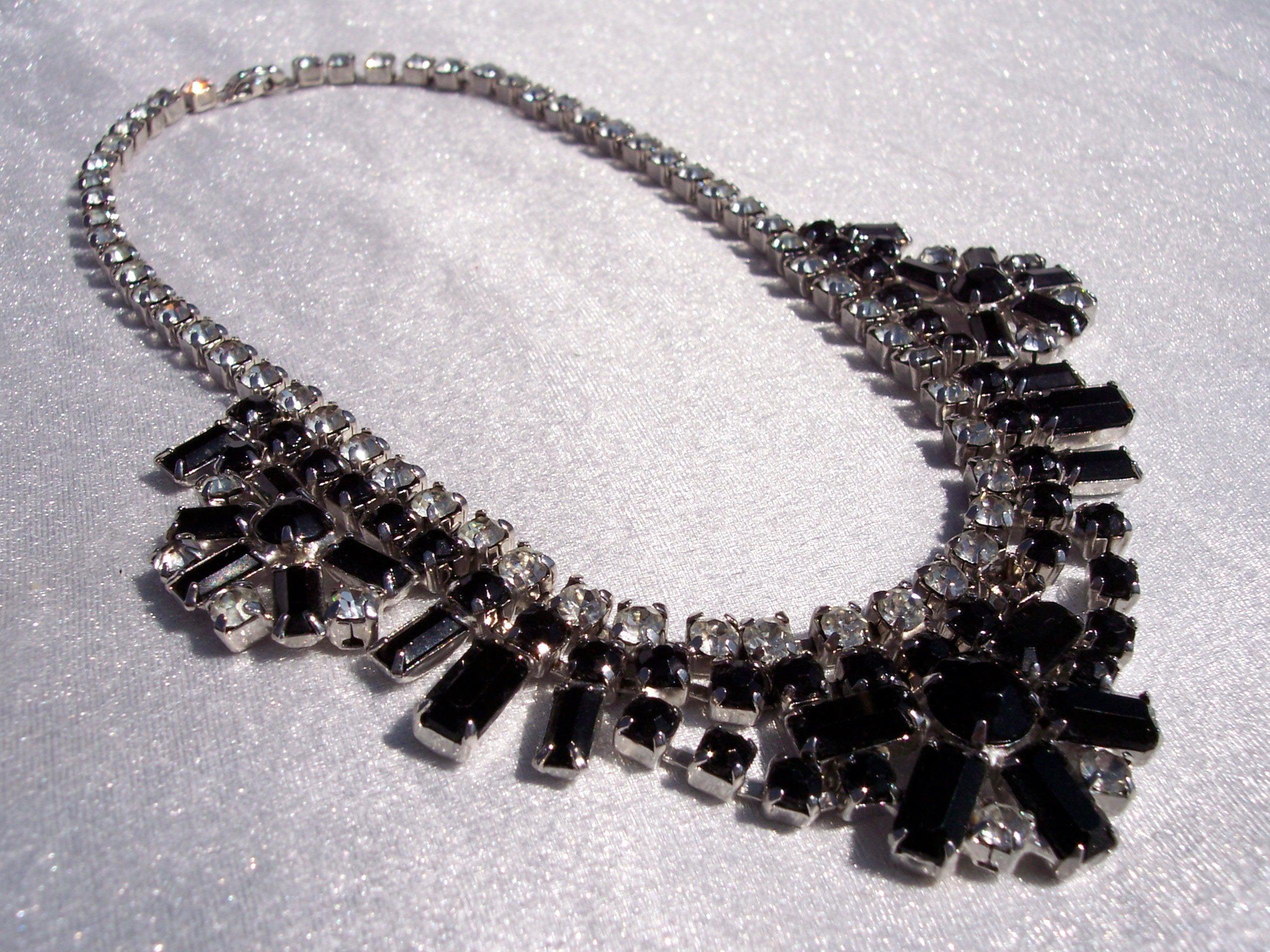 3de195aad Rhinestone Bib, Necklace, Warner, Designer, Black Clear Crystal, High End  Jewelry, Hallmarked, Vintage Fashion, Glamorous,