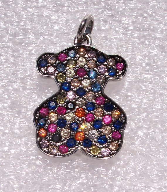 TOUS, Silver Fantasy, Pendant, Sapphires, SPAIN, Oxidized, Sterling Silver, Designer, High Fashion, Colorful, Bear Shape, HOT, Trend
