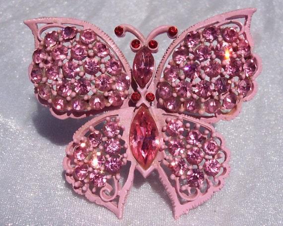Butterfly Brooch, Designer Weiss, RARE, Pink Rhinestone, High Fashion, Enamel, High End Jewelry, Hallmarked, Vintage Pin, Pretty In Pink