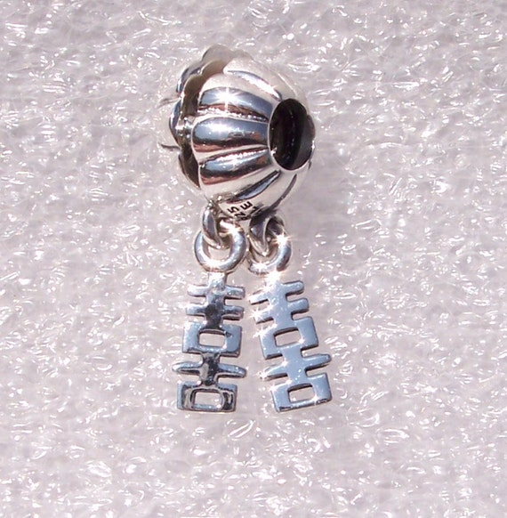 Double Happiness, Pandora, Bracelet Charm, Polysyllabic, Retired, Sterling Silver, Dangle, Chinese Symbol, LOVE, Marriage, New Couple