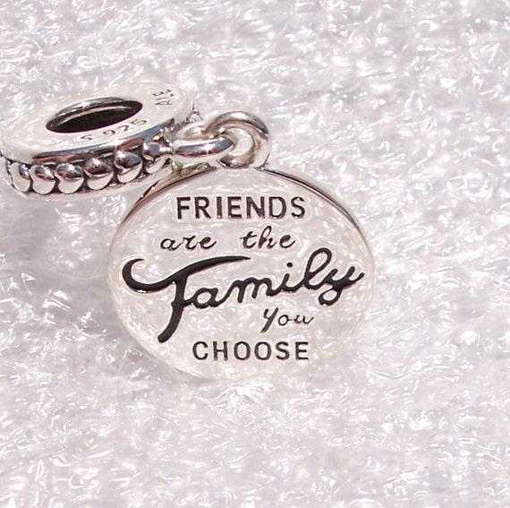 Friends Are Family, Pandora, Bracelet Charm, Sterling Silver, Dangle, Black Enamel, Family, Love, Friendship, Share, Tiny Hearts, Pendant
