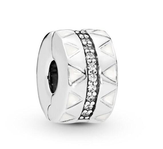 Sparkling, Jagged Lines, CLIP, Pandora, Bracelet Charm, Exotic, Patterns, Style, Clear CZ, Sterling Silver, Elegant
