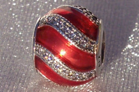 Adornment Red, Pandora, Bracelet Charm, Translucent Red, CZ, 925 Festive, Ribbon, Bauble, Winter, Holiday, Enamel, Slider,