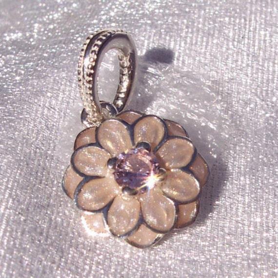 Dahlia Blooming, Pandora, Bracelet Charm, Blush CZ, 925, Enamel, Dangle, Floral,