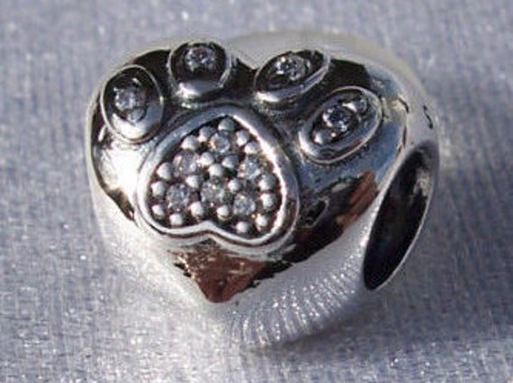 I Love My Pet, Pandora Charm, Bracelet Bead, Heart Paw Print, Memories, Silver, CZ, Animals, Furry Family Members, Dog, Cat, Forever LOVE
