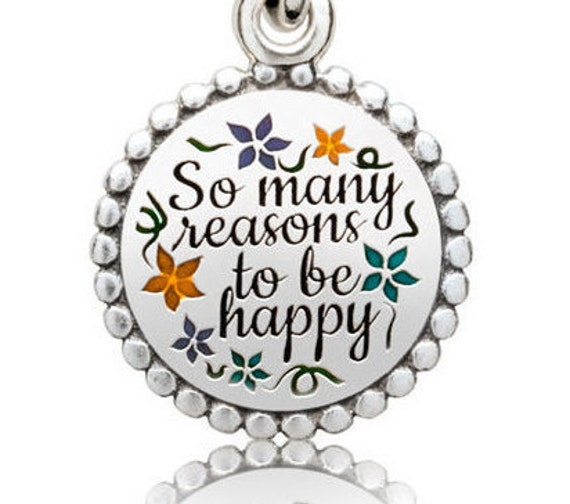 There Are So Many Beautiful Reasons to Be HAPPY Pandora Bracelet Charm Be Grateful Sterling Silver Dangle Enamel Family Love Friendship