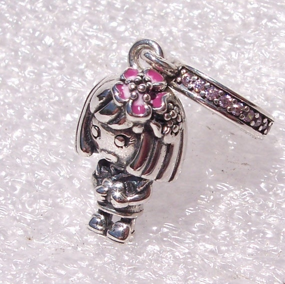 Chinese Flower Girl, Pandora, Bracelet Charm, China Exclusive, LE, Ichacha, Young, Witty, Pink Blossoms, Heart In Hands, 925, Enamel