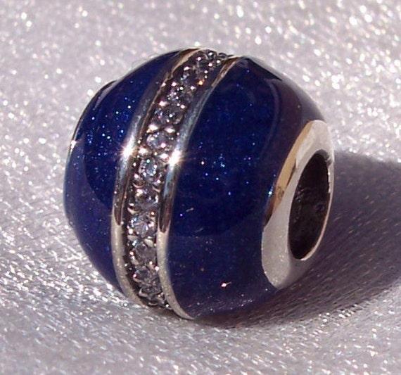 Orbit, Midnight Blue, Pandora, Bracelet Charm, Silver, Clear CZ, Enamel, Cosmic Ring, Majestic Light, Winter 2017, Shimmering, Slider