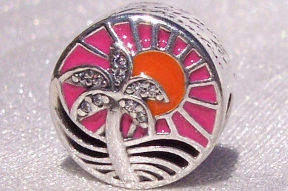 Tropical Sunset, Pandora, Bracelet Charm, Palm Tree, Sunshine, Warm Summer Days, Enamel, CZ, Palm Tree, Ocean, Beach Scene, Summertime Fun