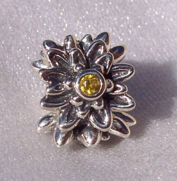 Edelweiss, Pandora, Bracelet Charm, Discontinued, Delicate, Yellow CZ, Sterling Silver, Floral, Flower, Texture, Detailed