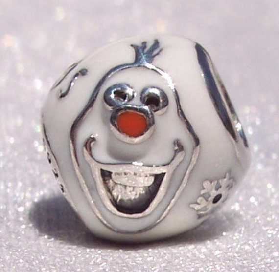 Olaf, Pandora Disney, Bracelet Charm, Frozen, Silver, Enamel, Love, Warm Hugs, Let It Go, Movie, Smile, Babble, Popularity, Heritage, White