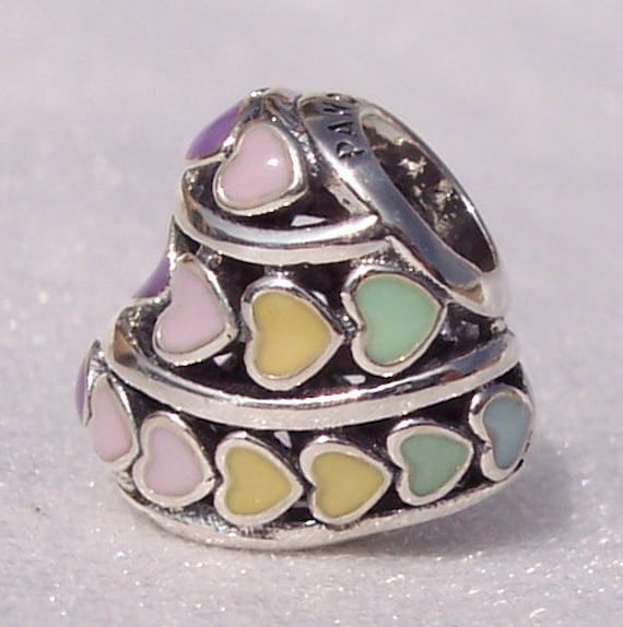 Multi Colored Hearts, Pandora, Bracelet Charm, 925, Rainbow, Spring, Slider, Bright Rainbow, Touch Of Color, Enamel, Pastel