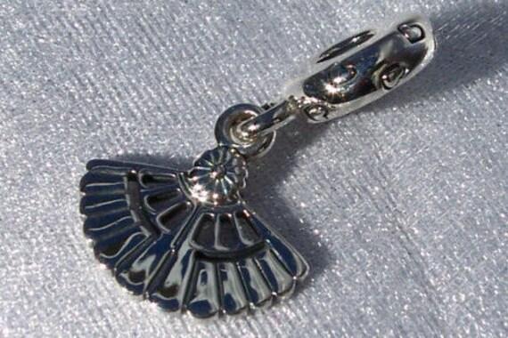 Hearts A Flutter, Pandora, Bracelet Charm, Sterling Silver, Retired, Fan, Dangle, Vintage, Symbolic, Feminine Art, Decorative, Collective