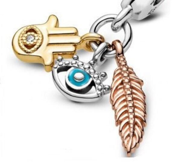 Hamsa Charm, Pandora Shine, Seeing Eye, Rose Feather, Spirituality, 3 Elements, Dangle, Bracelet Bead, 925, Greek, Guarded,Protection,Enamel