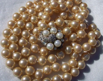 Rhinestone, Pearl Necklace, Double Strand, High Fashion, Designer, Knotted, Champagne, Simulated, High End Jewelry, Vintage,