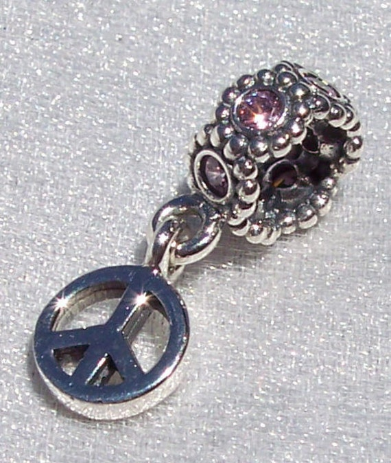 Peace Sign, Pandora, Bracelet Charm, Pink CZ, Retired, Retro, Dangle, Sterling Silver, Love Not WAR, Recognizable Icon, Symbol, Flowers