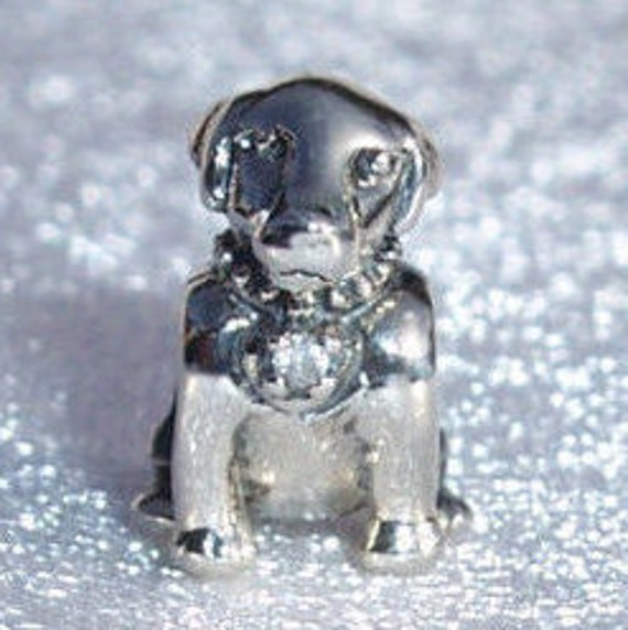 Labrador Puppy, Bracelet Charm, Man's Best Friend, Loyalty, Sterling Silver, Clear CZ, Retired, Animal, Dog, Family Member