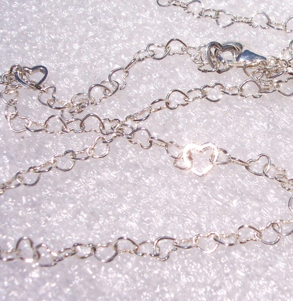 Joined Hearts Necklace, Sterling Silver, Elegant, Feminine, Delicate, Infinity Chain, Adjustable, Love