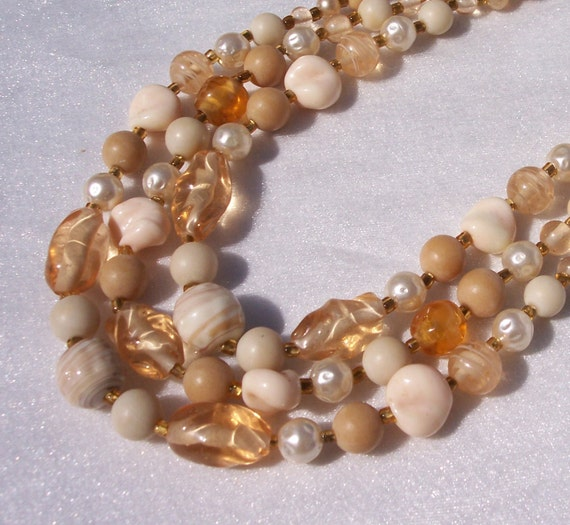 Vintage Necklace, Multi Strands Bib, Glass Beads, Swirl, Graduated Beads, Amber Spacers, High End, Fashionable Jewelry, Choker, J Hook,Pearl