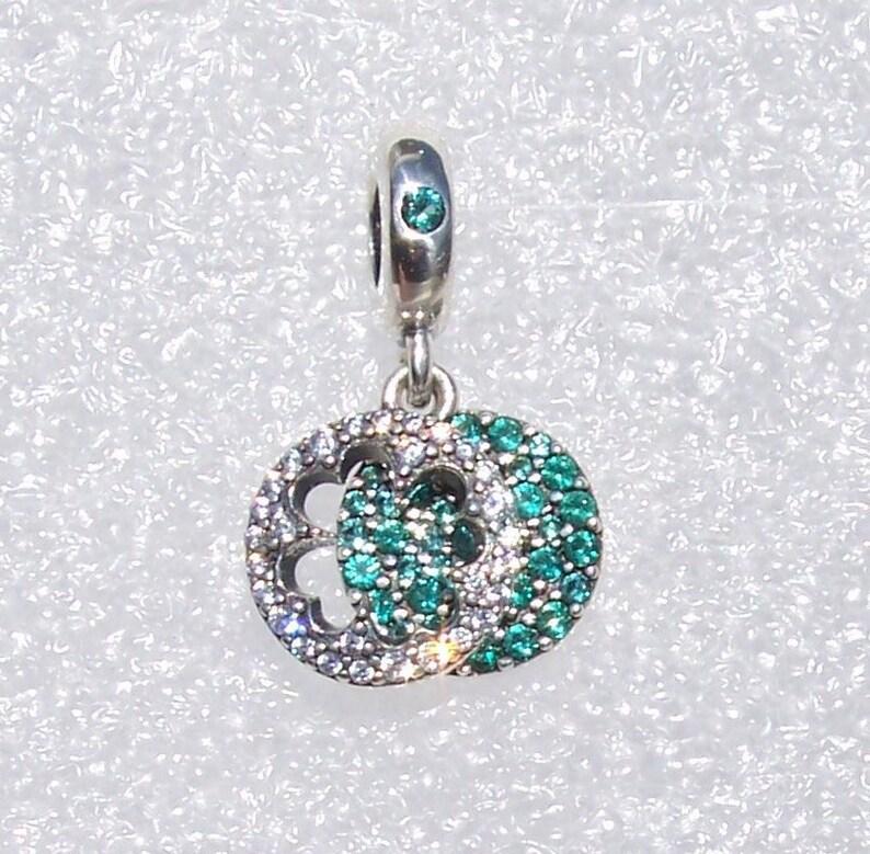 5d02b40ce Dazzling Clover Pandora Bracelet Charm Glittering Green   Etsy