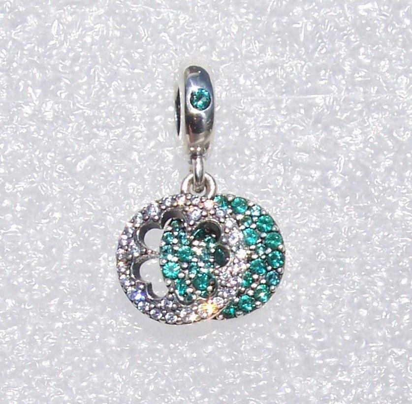 d8275cb6a Dazzling Clover, Pandora, Bracelet Charm, Glittering, Green Crystal, Clear  CZ, Silver, 4 Leaf Clover, St Patrick's Day, Good Luck, Pinch