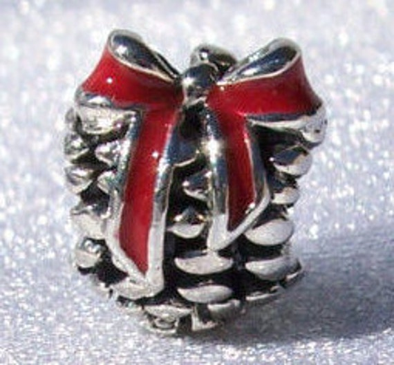 Pine Cone, Pandora, Bracelet Charm, In Store Exclusive, RETIRED, 925, Red Ribbon, Human Enlightenment, Holiday, Christmas, Traditional