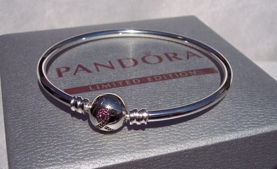 Pink Ribbon Bangle, Limited Edition, Pandora, Breast Cancer, Awareness,Strength,Australia,Charm Bracelet,925,PINK CZ,Gift Ideas,Box Included