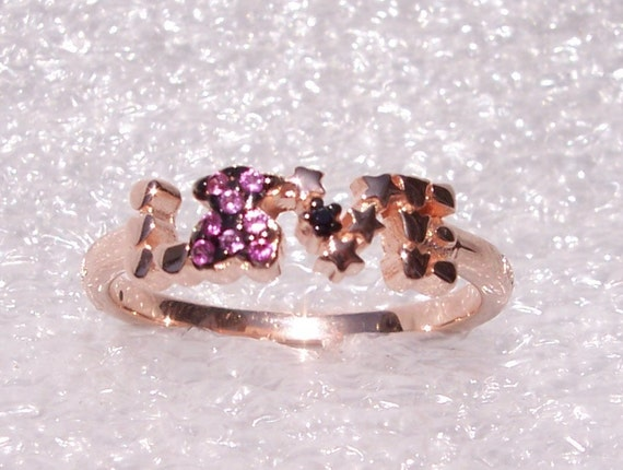 Love Ring, TOUS, Vermieil, SPAIN, San Valentin, Ruby, Spinel,  Rose Gold Plated, Sterling Silver, Designer, High Fashion