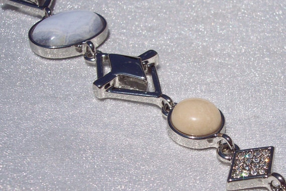 Designer Bracelet, White House, Black Market, Fashion Bracelet, Crystal, Cabochon, Silver Tone, Safety Chain,