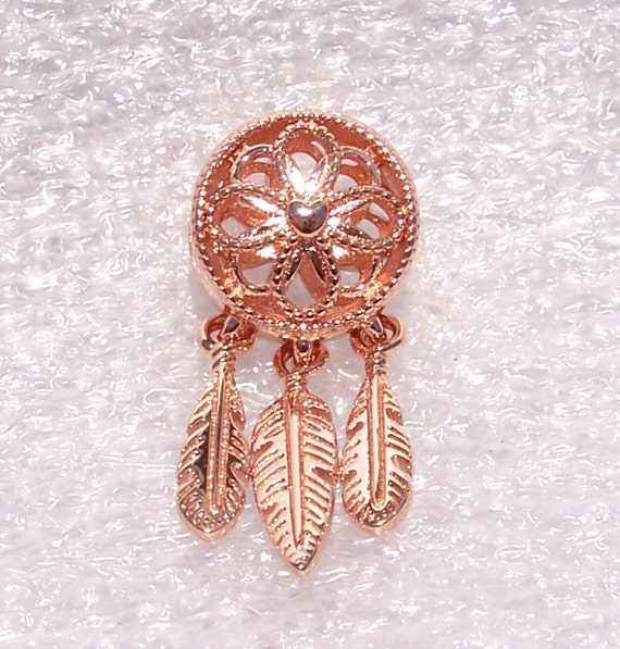 Spiritual Dreamcatcher, Pandora Rose, Bracelet Charm, Symbol Of Hope, Protection, Sweet Dreams, Positive Vibes, Floral, Feathers, Slider