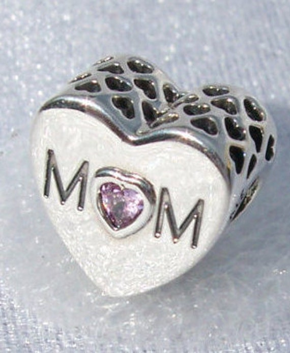 Mother's Heart, Pandora, Bracelet Charm, MOM, Mothers Day, Precious, My Hero, My Rock, Unconditional LOVE, Slider, Sterling Silver, Pink CZ