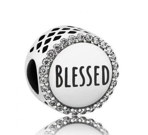 79ec6cb7b1fec BLESSED, Pandora, Bracelet Charm, Halo Clear CZ, Thankful, Black ...