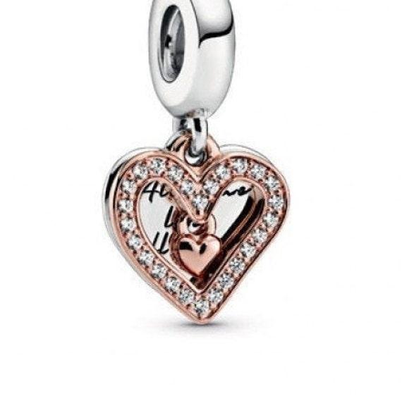 Sparkling Freehand, CZ Heart, Pandora ROSE, Bracelet Charm, 925, Dangle, All Of Me, Emblem Of Love, Symbolize, 14K Rose Gold, Plated, 2020
