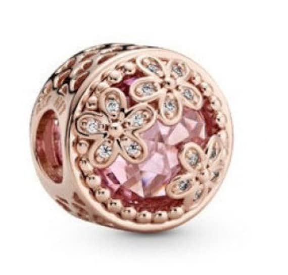 Pink Daisy Charm, Sparkling, Flower Bead, Pink CZ, 925, Clear CZ, Floral, Facet Cut, Button Charms, Wild, Openness, Cutout hearts, Freedom,