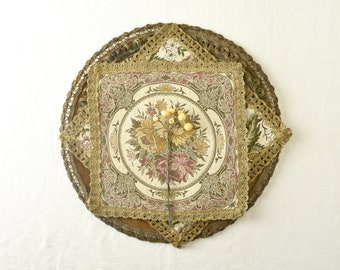 Lot of 4 Vintage Brocade Tapestry Dollies, Gold Floral, Velvet, Imperfects