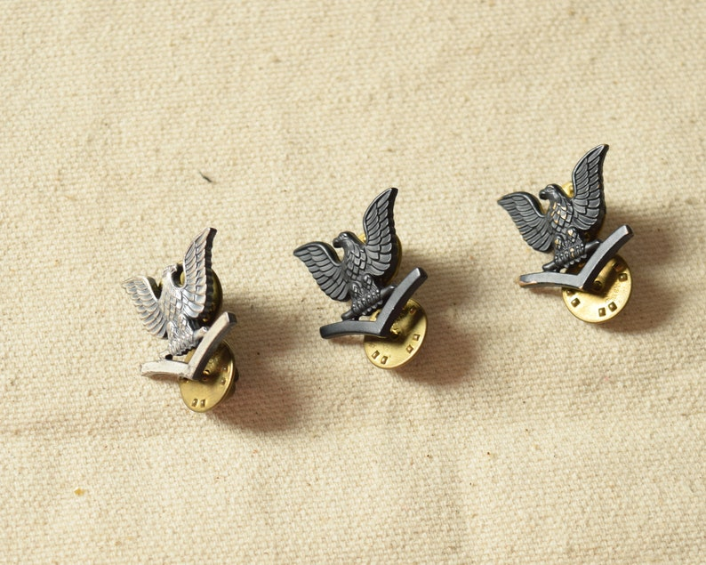 3 Military Eagle Insignia Pins, Petty Officer Single Chevron, Dark Metal  Facing Left, Light Metal Facing RightV-21-N
