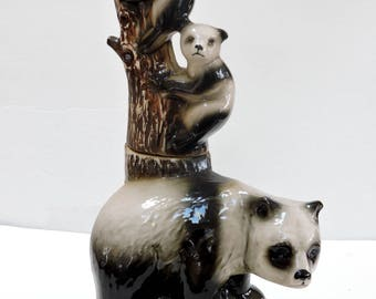 Vintage Jim Beam Liquor Bottle,Decanter,Pandas, Decanter, Handcrafted,Collectible.