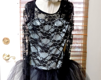 Vintage Black and Silver Tulle and Laced Ballerina Dress,Dress Up,Costumes,Ballet,Ballerina Princess,Halloween