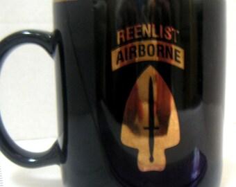 Vintage Mug,Reenlist Airborne,Military,Coffee Mug,Keepsake,Collectible Mug,Mug Collectors