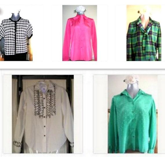 Vintage Blouses. FIVE Vintage Blouses, 1980s.FREE