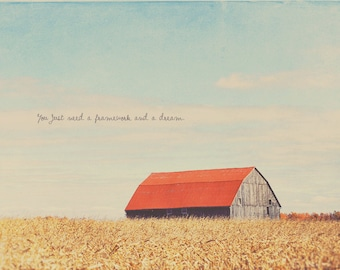 Red Barn House, Countryside Art, Countryside Photo, Red Barn Photo, Red Wall Art Print, Cottage Art Decor, Corn Field Photo, Barnhouse Art