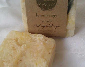 Lemon Sage Gardening soap made with organic herbs and essential oils