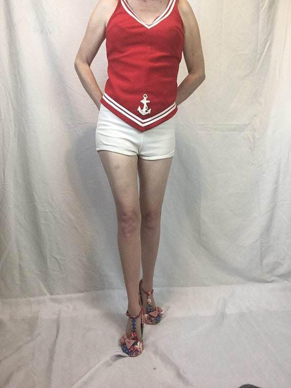1960s Sailor Bathing Suit Natical Red and White T… - image 2