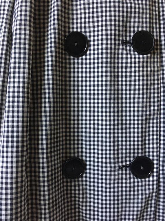 1950s Black & White Dress Shawl Collar/ Wrap arou… - image 8