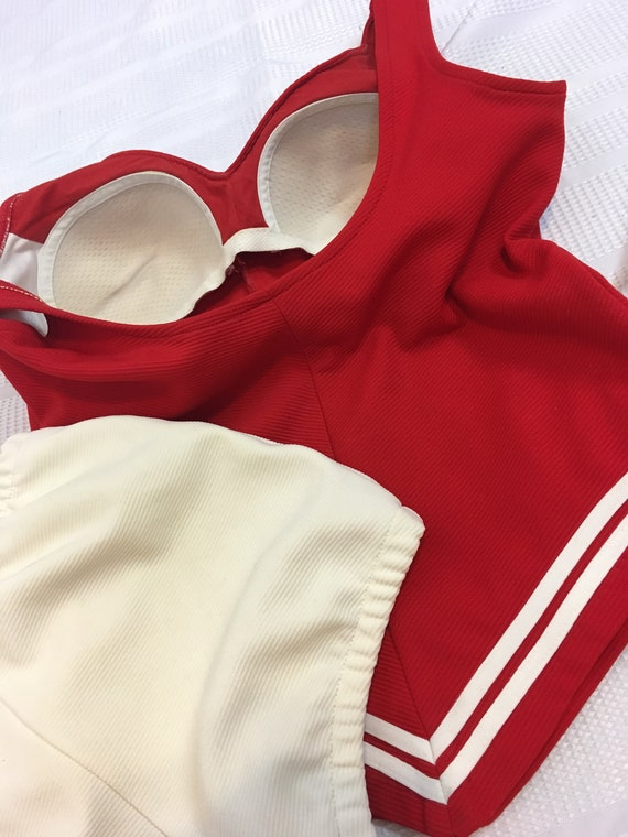 1960s Sailor Bathing Suit Natical Red and White T… - image 10