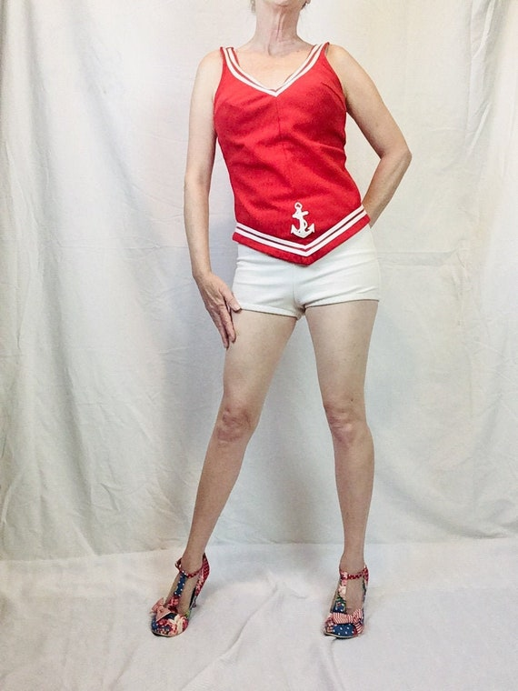1960s Sailor Bathing Suit Natical Red and White T… - image 1