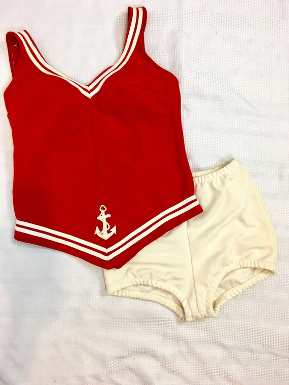 1960s Sailor Bathing Suit Natical Red and White T… - image 4