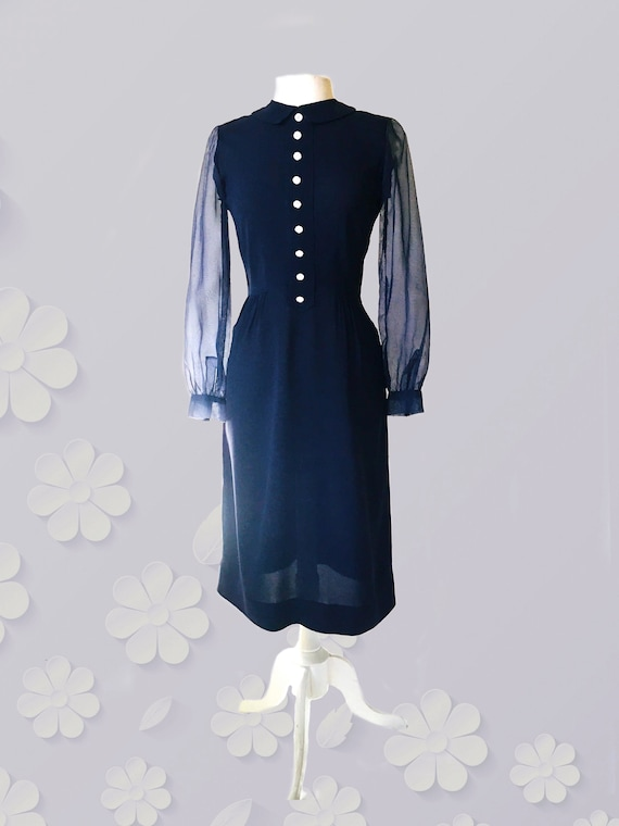 1970s mix Midnight Blue Dress with 1930s 40s Vibe